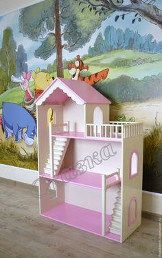 Купить или заказать Кукольный домик в интернет-магазине на Ярмарке Мастеров. Новый кукольный домик для маленькой принцессы, подарок на день рождения! Цвет слоновая кость и розовый, гардины на окошках. Высота домика 117 см, ширина 80 см. Цена домика 8450, гардины на 3 окна 600 руб. Радуйте своих любимых деток, дарите им их мечту!)) Все наши домики, а также игрушки выполнены из высококачественной березовой фанеры, для отдельных элементов используем дерево сосна, осина,…