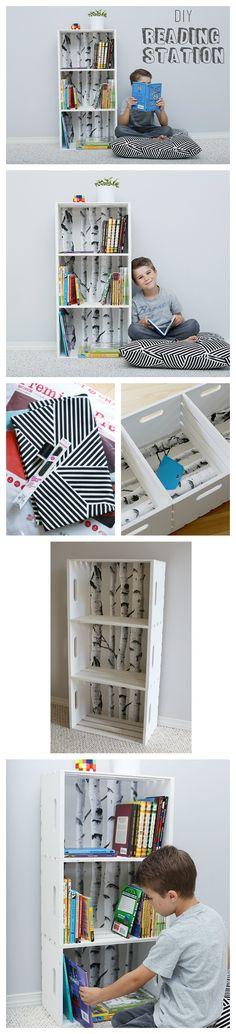 DIY Reading Station (Wood Crate Bookshelf + Floor Pillow)