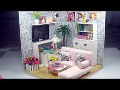 Dollhouse Miniature Living Room #3 | Cute Miniature Sofa & Table Tutorial | Làm bộ sofa | Ami DIY - YouTube