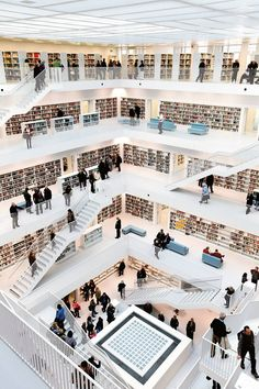 Beautiful Library, Beautiful Sites, Beautiful Places In The World, Amazing Places, Most Beautiful, Stuttgart Library, Stuttgart Germany, White Staircase, Family Vacation Destinations