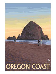Haystack Rock, Cannon Beach, Oregon Premium Poster at Art.com