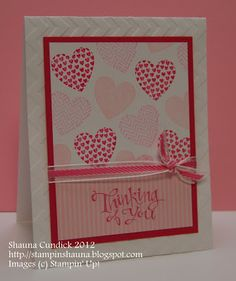 Stamp Set: Hearts a Flutter  Ink: Pretty in Pink, Pink Pirouette, Melon Mambo  DSP Sassy Salutations, Melon Mambo card stock, Whisper white  Chevron embossing folder   Ribbon: Melon Mambo striped organdy