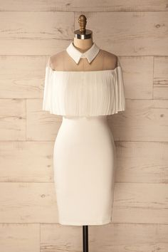 Andja Blanc - White frilly cape sleeve cocktail dress  www.1861.ca