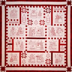 There are 24 snowman designs on the disk and instructions on how to assemble this wintery redwork quilt. Description from sewmanyquiltsinbend.com. I searched for this on bing.com/images