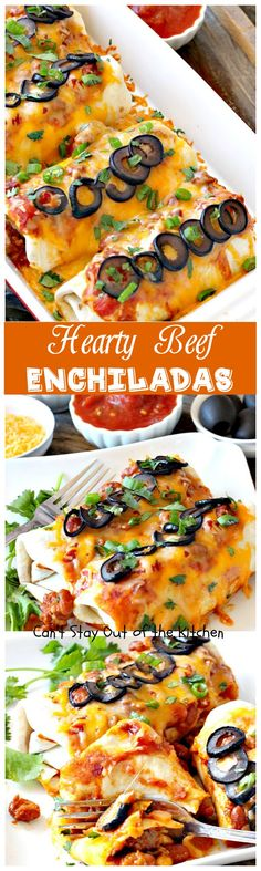 Hearty Beef Enchiladas | Can't Stay Out of the Kitchen | quick & easy #beef and bean #enchiladas with #salsa and enchilada sauce. #TexMex Tostadas, Mexican Food Recipes, Mexican Cooking, Easy Mexican Dishes, Beef Recipes, Mexican Entrees, Cooking Recipes, Health Recipes, Easy Recipes