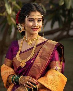 Indian Bridal Sarees, Bridal Silk Saree, Indian Bridal Outfits, Indian Bridal Fashion, Indian Bride Poses, Indian Wedding Bride, Indian Wedding Photography Poses, Maharashtrian Saree, Marathi Saree