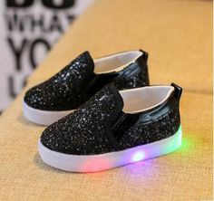 Slip on sparkle shoes that light up! A little girl s dream! Available in  white 9fcdcaa126b0