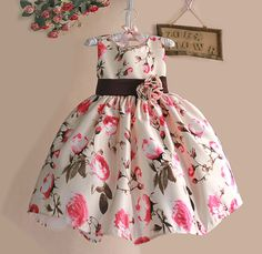 New 2016 Girls Summer Dress Rose Floral Tribute Silk Kids Dresses for Girls…