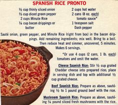 spanish recipies with photos | Spanish Rice Pronto – Recipe Clipping