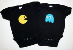 Twins Pacman Ghost Applique Onesie Baby Gift Set - Great for Multiples New Mom and Dad Gift