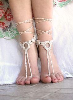 Salmon pink Crochet barefoot sandalsr Beach wedding by MarryG