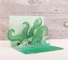 Simple Pop-up Cards Cricut cartridge -- Sea Monster pop-up card. Make It Now with the Cricut Explore machine in Cricut Design Space.
