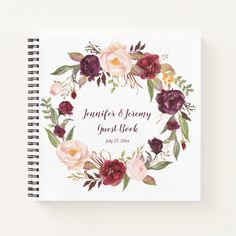 Shop Marsala Burgundy Pink Floral Wreath Guest Book created by dmboyce. Red Wedding, Floral Wedding, Wedding Color Schemes, Wedding Colors, Rustic Wedding Guest Book, Invitation Cards, Invites, Party Invitations, Notebook Covers
