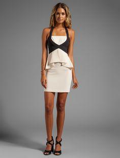 Cute ivory & black peplum dress