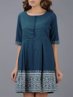 Blue Block-printed Pleated Cotton Dress
