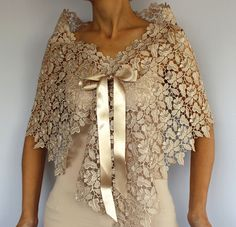 Ecru Beige Lace Capelet Bridal Top Wear Shrug by MammaMiaBridal, $44.00