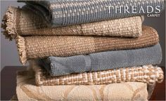 these distinctive carpets are woven with wool and silk blends by Lee Jofa
