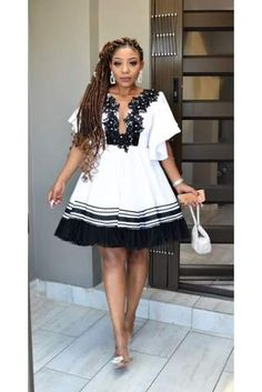 High Waisted Full Flare Dress – Styles By Tumi Sotho Traditional Dresses, South African Traditional Dresses, Traditional Outfits, Short African Dresses, Latest African Fashion Dresses, African Print Dresses, Xhosa Attire, African Attire, Shweshwe Dresses