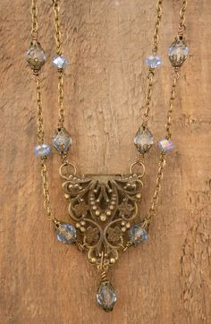 Floral Brass Filigree Neo-Victorian Double Strand Necklace Handmade Wire Wrapped Pale Sapphire Czech Glass Bead Wedding Jewelry by BackAlleyDesignsINK on Etsy