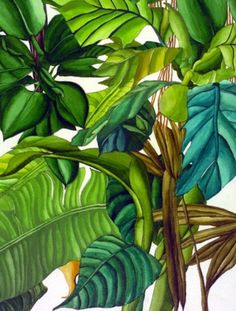 Tropical leaf prints in home decor, fashion and party planning! Take a look through these stunning images and get some tropical leaf inspiration. Tropical Design, Tropical Pattern, Tropical Art, Tropical Leaves, Tropical Plants, Botanical Art, Botanical Illustration, Deco Turquoise, Estilo Tropical