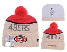 Mens Womens San Francisco 49ers New Era Gray Sport Vivid Team Logo Cuff Knit  Pom Beanie Cap - Grey   Red fa2128625
