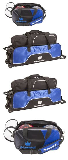 Brunswick Crown Triple Tote with Pouch - Royal for sale online Bowling Accessories, 3 Balls, Bowling Bags, Baby Car Seats, Pouch, Crown, Tote Bag, Blue, Ebay