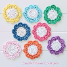 Crochet Candy Flower Coasters By Mandy - Free Crochet Pattern - (redagapeblog)