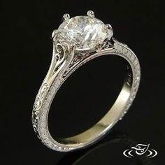 Platinum Antique Split Filigree Ring www.greenlakejewlery.com