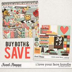 digital scrapbooking - I Love Your Face Bundle by Libby Pritchett