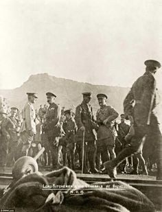 A picture, dated November 1915, shows Lord Kitchener (pictured third from left) and his generals in Gallipoli. At the start of the war, he was appointed Secretary of State for War by Prime Minister Herbert Asquith and proposed an invasion of Alexandretta on Turkey's Mediterranean coast but was eventually persuaded to support Churchill's plan for Gallipoli