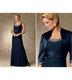 3f0a472ee1758 Elegant Long A line Three Quarter Sleeve Mother of the Bride Dresses With  Jacket Plus Size 2016 Formal Evening Dress-in Mother of the Bride Dresses  from ...