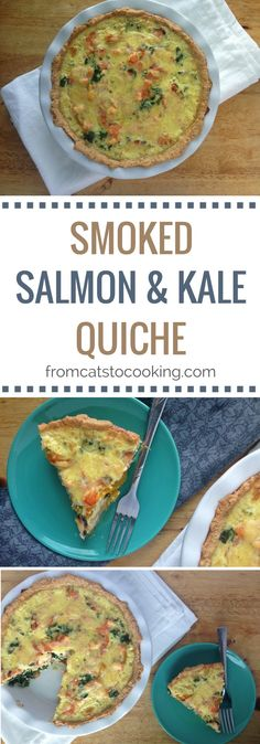 Smoked Salmon and Kale Quiche Recipe - gluten free, paleo, and can easily be made dairy free by simply omitting the cheese! | fromcatstocooking... - Perfect for breakfast or brunch!
