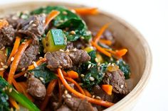Korean Beef Rice Bowl ~ http://steamykitchen.com This is dinner tonight, using a grass fed top sirloin steak for the meat! Yum Yum!