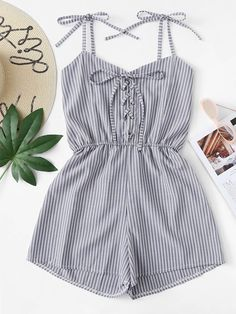 Tie Shoulder Eyelet Lace-Up Striped JumpsuitFor Women-romwe Cute Teen Outfits, Cute Comfy Outfits, Cute Summer Outfits, Retro Outfits, Short Outfits, Outfits For Teens, Trendy Outfits, Cool Outfits, Girls Fashion Clothes