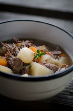 Farmhouse Beef and Bacon Stew - Beef, English Bacon, Pearl Onions, Carrots, Potatoes, Red Wine and Thyme.