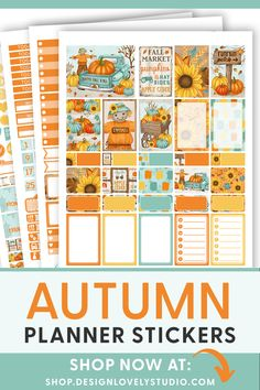 Printable Halloween Planner Stickers, Fall Planner Stickers Kit, Pumpkin Planner Stickers, fits Erin Condren Vertical Weekly Planner Printable, Printable Planner Stickers, Happy Fall Y'all, Erin Condren Life Planner, Sticker Shop, Lettering, Drawing Letters, Brush Lettering