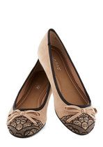 Juxtaposition of Interest Flat in Tan | Mod Retro Vintage Flats | ModCloth.com