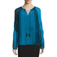 Elie Tahari Suella Long-Sleeve Crepe Blouse ($320) ❤ liked on Polyvore featuring tops, blouses, waterfall, long sleeve v neck blouse, blue top, v neck blouse, v neck pullover and long tops