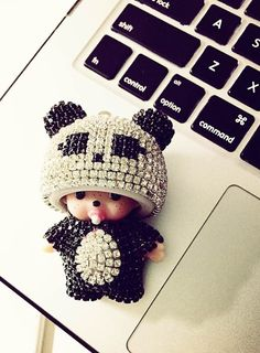 Panda hat Monchichi crystal keychain with leather by chichihouse