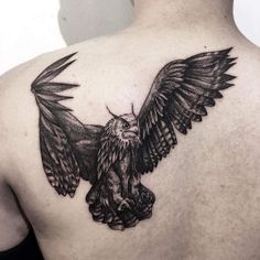 Black and White Owl Tattoo on Back