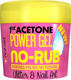 Nail-Aid: 1st Acetone Power Gel No-Rub. Removes glitter polish in four minutes with no rubbing! $7 at walmart and cruelty free!