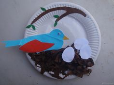 kids spring art idea , bird in nest