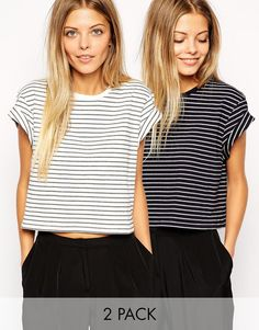 ASOS Cropped Boyfriend T-Shirt with Roll Sleeve in Stripe 2 pack