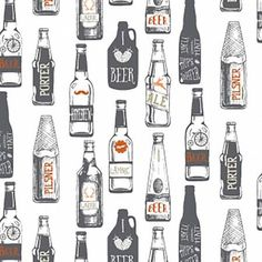 Homebrew by Dear Stella Hipster Fabric Gray Quilt Modern Fabric Beer Fabric Boy Fabric Masculine Fabric Beer Material by Owlanddrum on Etsy