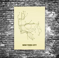 New York City C7 - Acrylic Glass Art Subway Maps (Acrylglas, Underground)