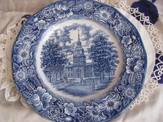 Liberty Blue Staffordshire Plate - Independence Hall...These are Leona's dishes