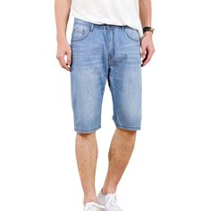 >> Click to Buy << Men Summer Lightweight Mid Waist Knee Length Jeans Casual Loose Straight Stretch Denim Shorts Plus Size #Affiliate