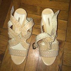 MaxStudio beige/cream wedges size 8 1/2 Worn once. Perfect condition Max Studio Shoes Wedges