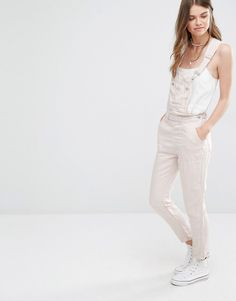 Pull&Bear+Denim+Dungarees+In+Pale+Pink