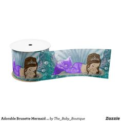 Mermaid baby shower ribbon with cute blonde mermaid with pretty purple tail on a teal blue under the sea background. This mermaid ribbon works well for a baby shower decoration and diaper cake ribbon, birthday party, etc. Baby Shower Party Supplies, Baby Shower Invites For Girl, Girl Shower, Baby Shower Parties, Baby Shower Invitations, Party Invitations, Cute Mermaid, Baby Mermaid, Mermaid Birthday